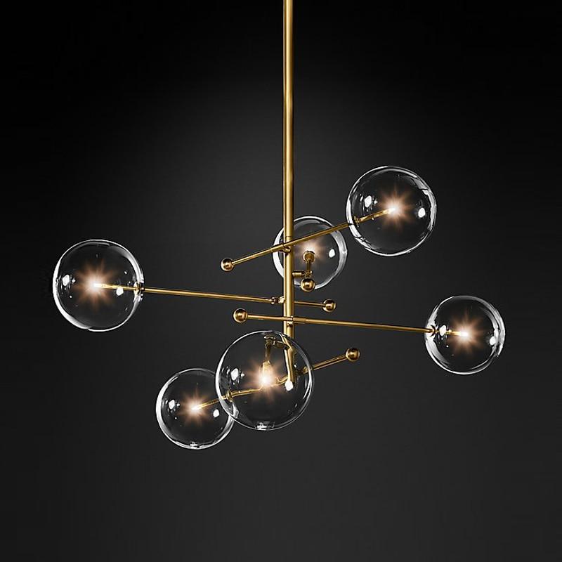Lustre en verre de boule de conception moderne 6 têtes lustre en verre clair de lampe de bulle pour l'appareil d'éclairage noir/or de cuisine de salon