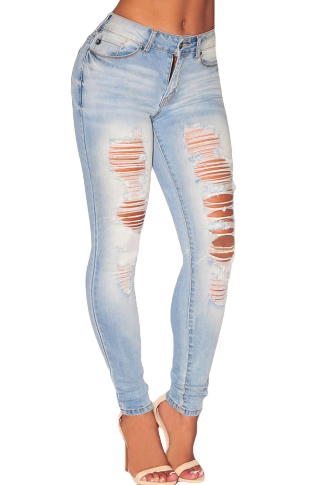 Aliexpress.com : Buy Echoine Women Denim Ripped Pencil Jeans Skinny Blue Plus  Size Holes High Waist Jean Whisker Wash Vaqueros Mujer from Reliable  vaqueros ...