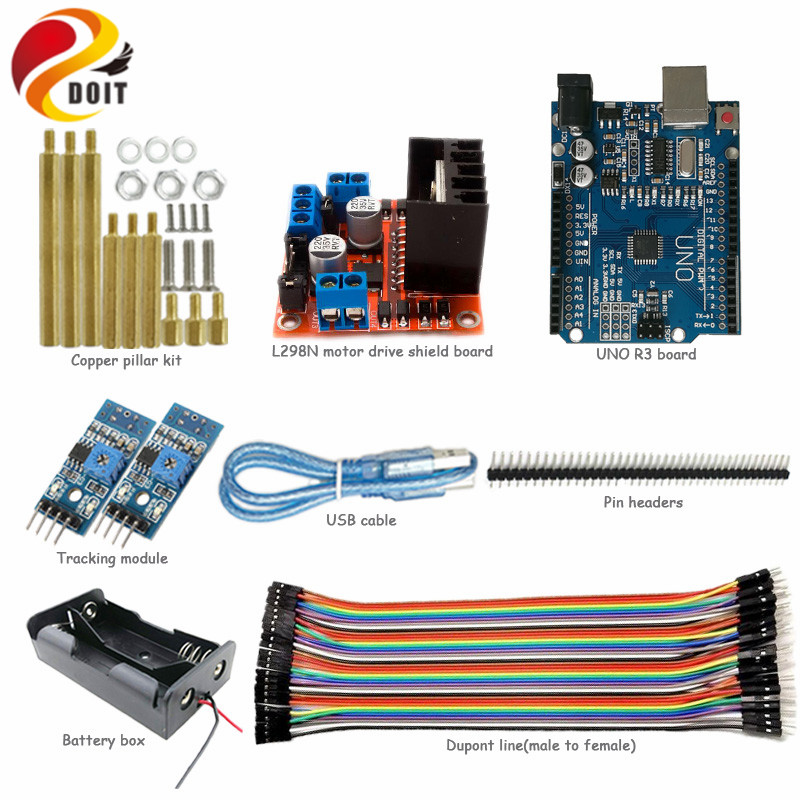 DOIT UNO Starter Kit for Smart Car Chassis with Arduino Uno R3 Board, L298N Motor Drive Shield, Tracking Module, Dupont Line 3 7v lithium polymer battery 042035 402035 300mah mp3 mp4 mp5 battery bluetooth headset battery