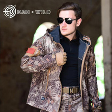 Camouflage Softshell Sharkskin Jacket Outdoor Tactical Hunting Clothes Hiking Camping Climbing Winter Hoody Coats S-XXXL