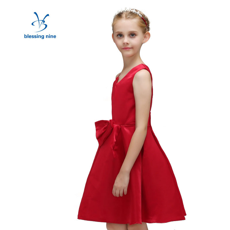 Little Girl Party Dress Blue Girls Dresses for Party and Wedding Summer Kids Princess Dress Red Bow Tie Children Clothing new kids princess dress for girls dresses for summer party dress wedding flower girl dress girls clothing gift 6 colors