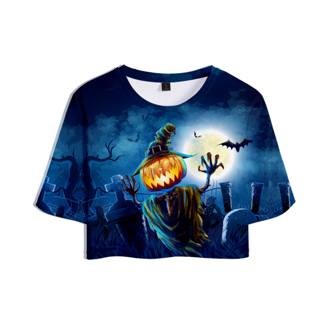 01f44b0a9 3D HALLOWEEN Pumpkin Ghost Scary Women's Summer Sexy Crop Tops T Shirts  Female Goth Exposed Navel T-Shirt All Hallows' Day