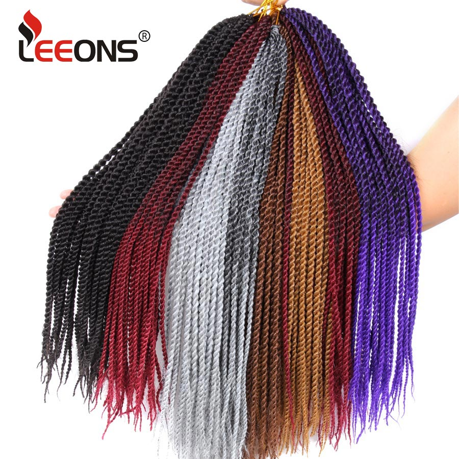 Leeons Small Senegalese Twist Braids 18 inch 30 Roots Thin Crochet Hair Extensions Ombre Braiding Hair 15 Colors Available