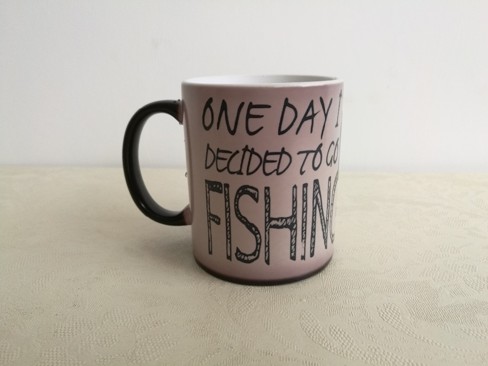 Go Fishing Dad Birthday Gifts Fathers Day Heat Sensitive Black Color Changing Coffee Tea Cup Mugs Travel Magic Mug Kids