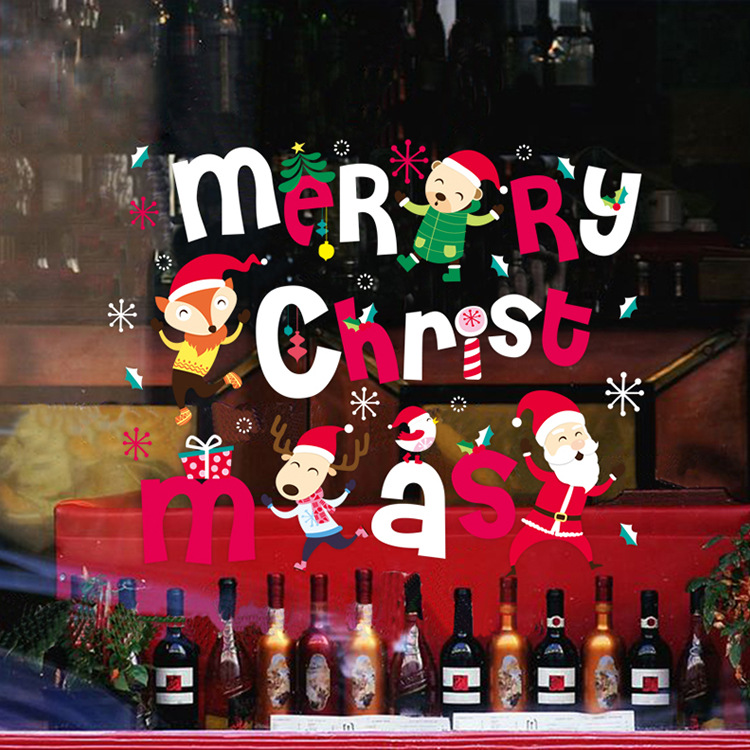 New Year Christmas Decorations for Home Creative Colorful Merry Christmas Children's Window Decoration Removable PVC Stickers