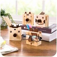 Vanzlife Cute Little Animals Happybuddy Wooden Pen Holder Multifunction Creative Fashion Cartoon Pencil Frames Container