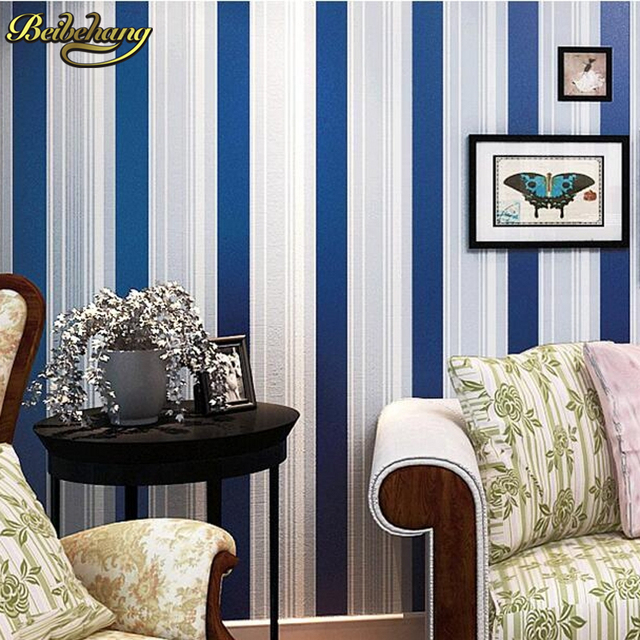 Beibehang Modern Child Real Living Room Walls Wallpaper Blue Red Green  Multi Color Vertical Stripe Wall