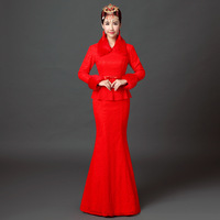 2016 Autumn Long Sleeve Cheongsam Dress Red Lace Bride Wedding Qipao Dresses Chinese Traditional Vestidos Robe Chinoise Evening