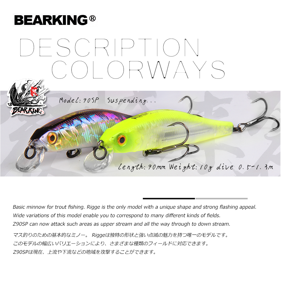 BEARKING For 2019 Hot Fishing Gear Shone Lures Minnow Crank 9cm 10g,Tungsten Magnet Weight System Wobbler Bait Isca Artificial