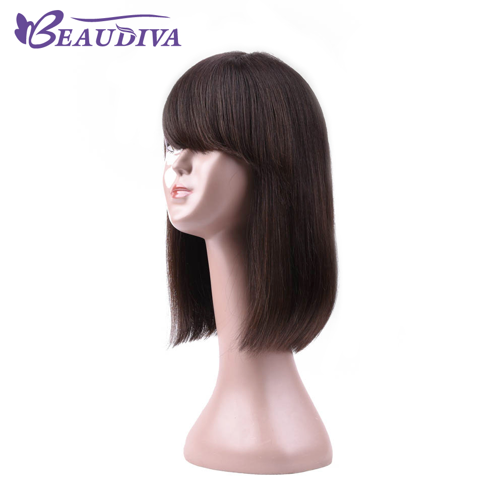 Beaudiva Wigs Straight Human Hair One Piece 12inch Brazilian Human Hair Wigs Side Part Human Hair Wig For Women Free Shipping