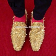 ALMUDENA Gentlemen Gold Silver Bling Bling Crystal Slip-on Loafers Business Rivets Suits Shoes Brideroom Spikes Dress Shoes(China)