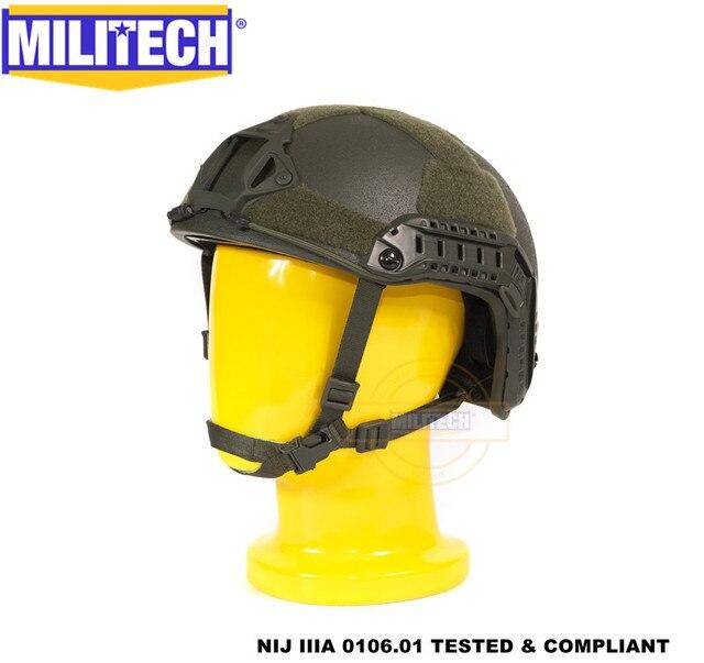 MILITECH Oliver Drab OD Deluxe Super High Cut Maritime NIJ level IIIA Bulletproof FAST Aramid Bullet Proof Ballistic Helmet CAG
