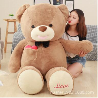 Giant 120cm Cute big size Teddy bear doll plush toys Stuffed Animals Bear Dolls with Love Toys for girl Birthday Gifts kawaii 140cm fashion stuffed plush doll giant teddy bear tie bear plush teddy doll soft gift for kids birthday toys brinquedos