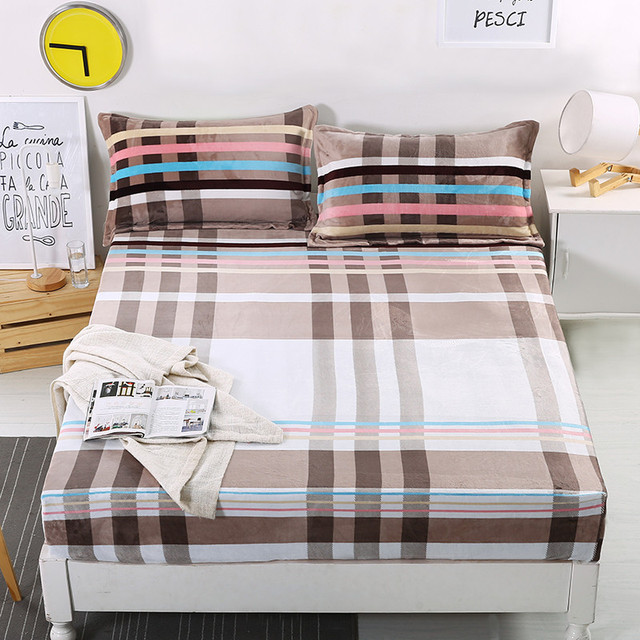 1 Piece Flannel Fitted Sheet Mattress Cover 160cm*200cm Plaid Warm Bed  Cover Twill Bed