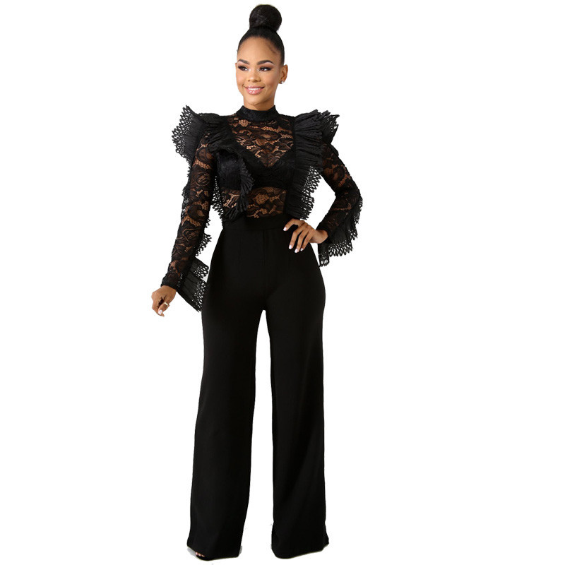 Black Lace   Jumpsuit   Women Sexy Sheer Ruffle Long Sleeve Bodysuit Elegant Evening   Jumpsuit   Formal Party Rompers Womens   Jumpsuit