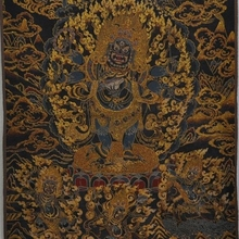 """3"""" Тибет Шелковой Вышивкой буддизм Искусство Tangka 6 рука Махакалы бог Статуя будды"""