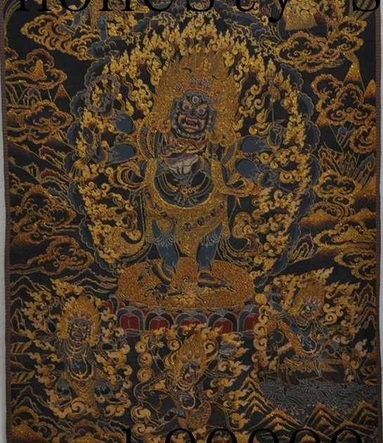 """35 """"ทิเบตไหมเย็บปักถักร้อยพุทธศิลปะT Angka 6แขนM Ahakalaรูปปั้นพระพุทธรูปพระเจ้า"""