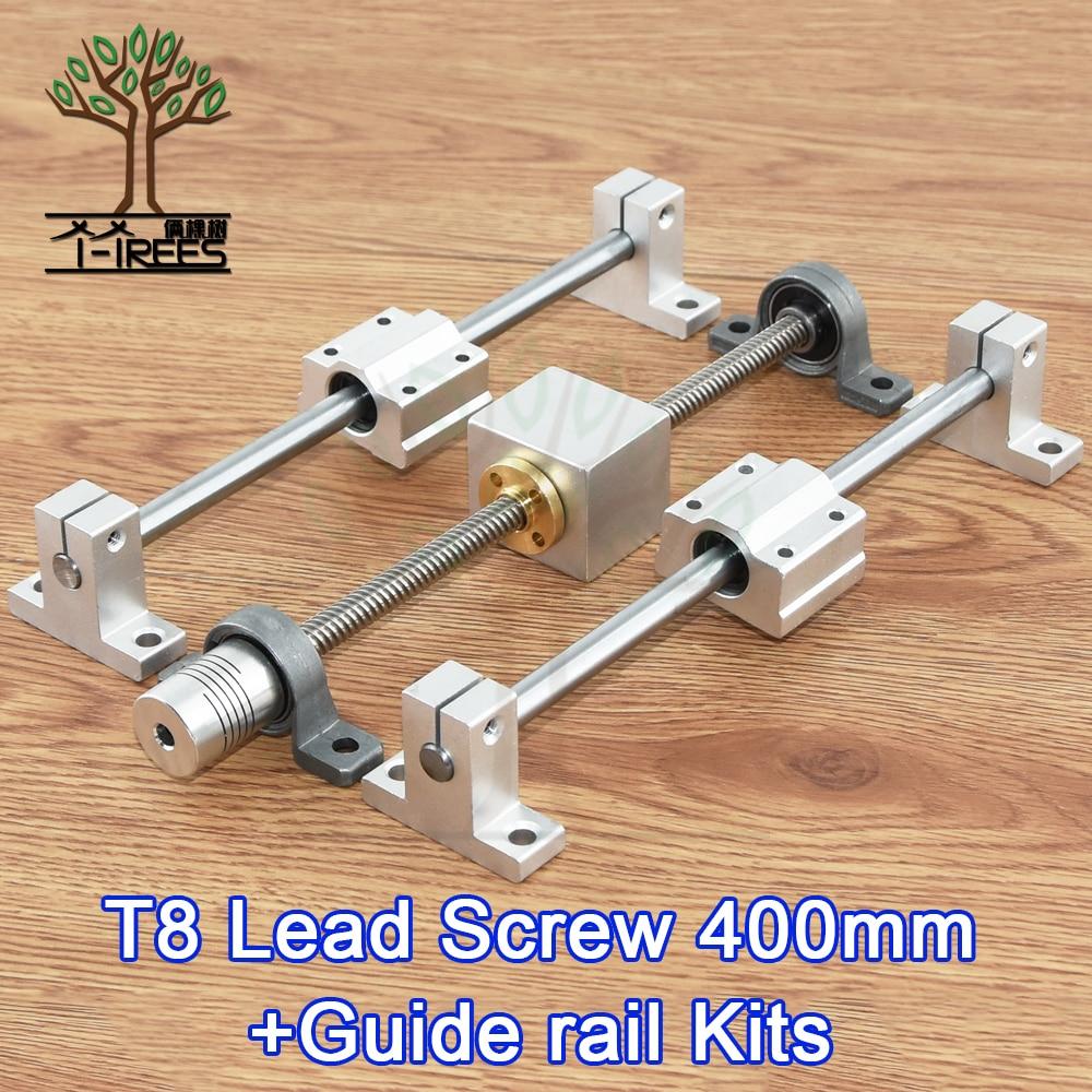 цена 3D Printer guide rail sets T8 Lead screw length 400mm + linear shaft 8*400mm+KP08 SK8 SC8UU+ nut housing +coupling + step motor