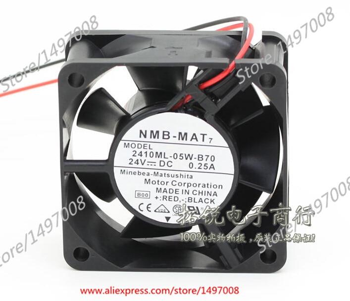 Free Shipping For NMB  2410ML-05W-B70, B00  DC 24V 0.25A 2-wire 2-pin connector 60mm 60X60X25mm Server Square fan