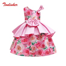 Summer Girls Printing Flower Princess Dress Children Tutu Bow-Knot Dresses Dance Piano Performance Gown
