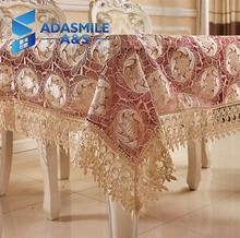 Adasmile Lace Fabric Crocheted Flower Pattern Soft Texture Tablecloth Table Cover Cloth 60*90inch