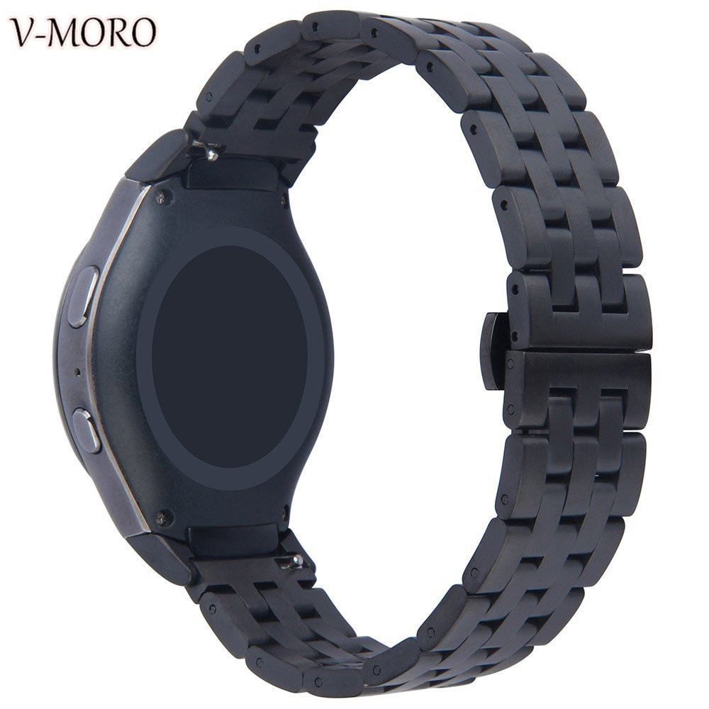 V-moro Newest Watch Straps For Gear S2 Strap Butterfly Buckle Stainless Steel Watch Band For Samsung Gear S2 With Connector смарт часы samsung gear s2 black