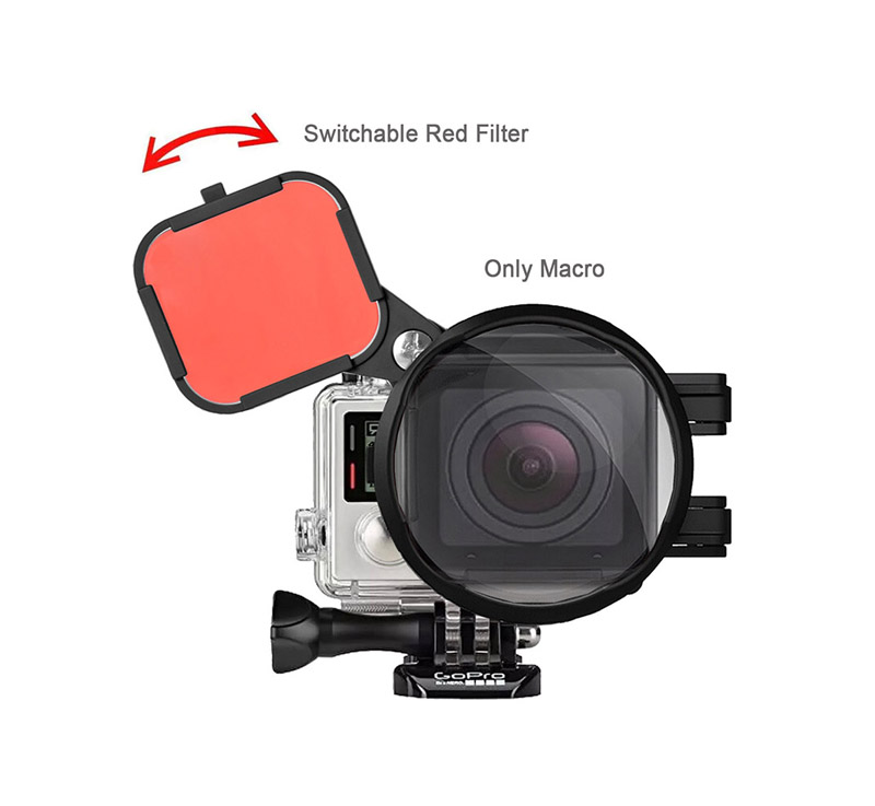 Red Color Correction Filter + 16X Close Up Macro Lens for Gopro Go Pro Hero 4 3 3+ Housing Case Underwater Scuba Lens Filter Kit (15)