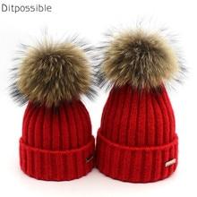Ditpossible ladies beanies real fur hat women winter hats boys girls wool knitted hat skullies gorro kids 2-6year old