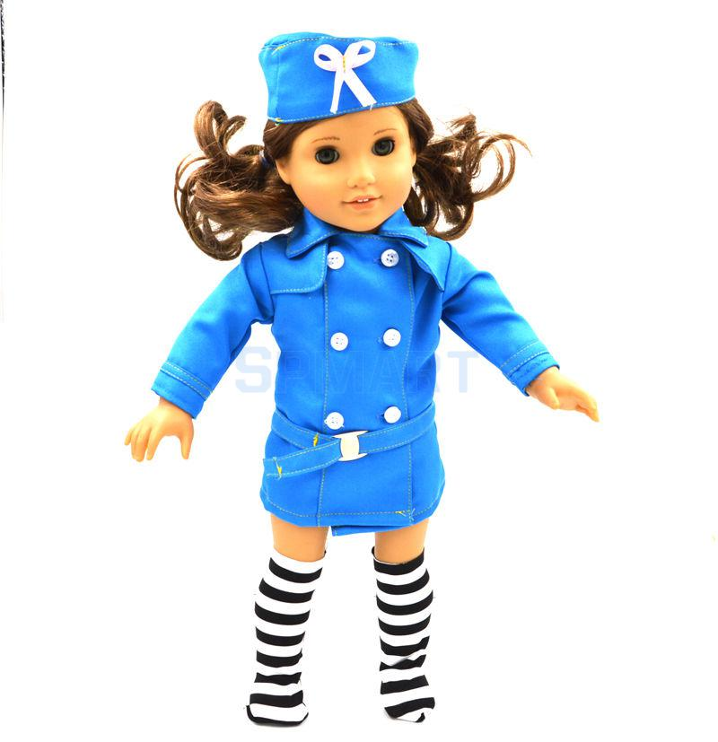 Handmade Fashion Blue Suit Clothes Dress Outfit for 18 inch American Girl Our Generation Journey My Life Doll Party