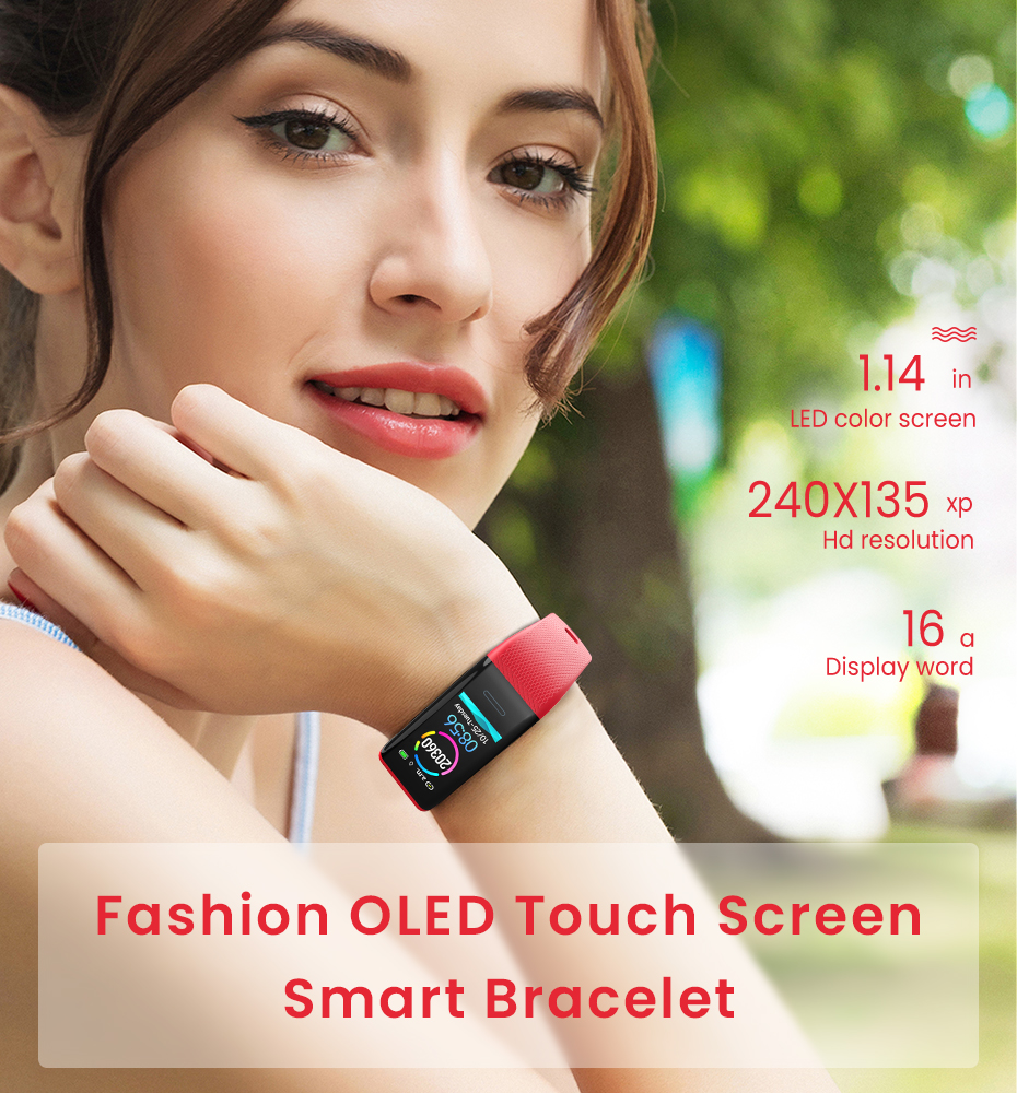 Men Women 1.14 IPS OLED Color Smart Wristbands Pedometer Sports Fitness Bracelet Blood Pressure Heart Rate Monitor Android IOS 1