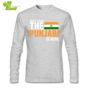 Image 2 - Mantenere La Calma Paura Il Punjabi È Qui T Camicia Maschile Nuova Venuta Maglietta Normale T Shirt di Autunno degli uomini 100% Cotone A buon mercato Papà Abbigliamento