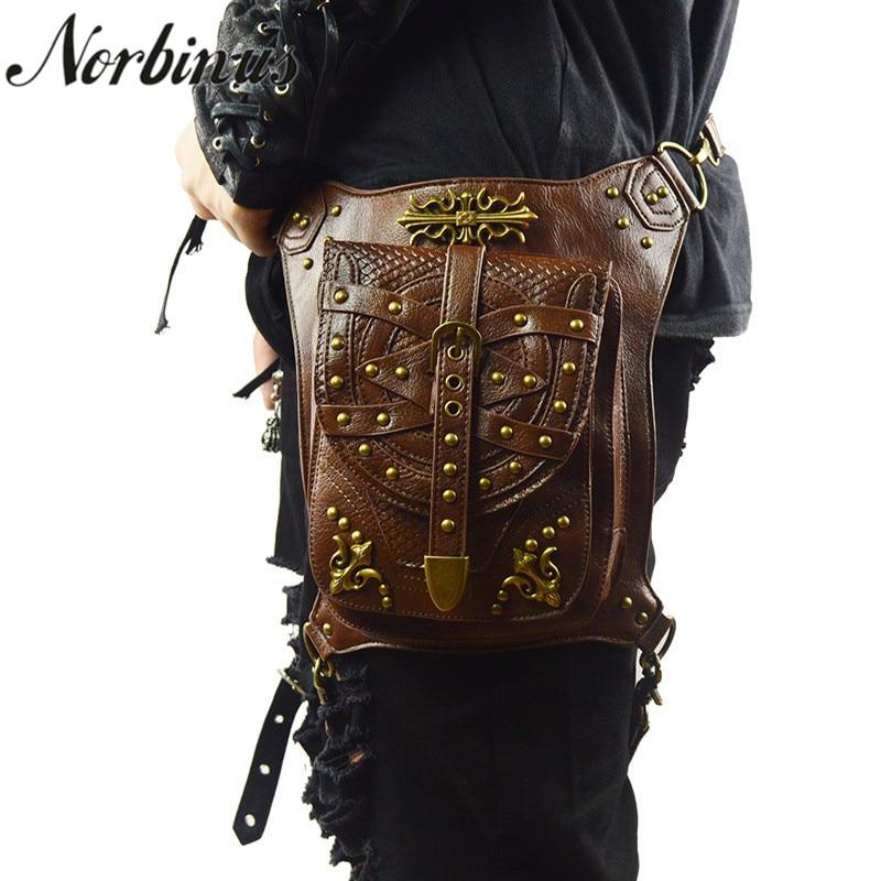 Norbinus Men Rivets Waist Leg Bag Motorcycle Hip Belt Pack Leather Drop Thigh Bag Pouch Women Steampunk Crossbody Shoulder Bags недорого