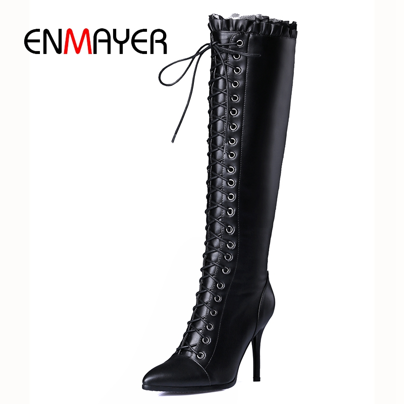 ENMAYER 2018 New fashion High quality women cow leather lace-up knee high boots lady pointed toe high heel boots ZYL778ENMAYER 2018 New fashion High quality women cow leather lace-up knee high boots lady pointed toe high heel boots ZYL778