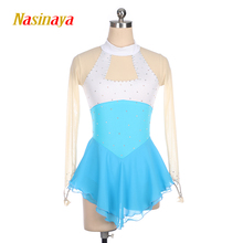 Nasinaya Figure Skating Dress Customized Competition Ice Skating Skirt for Girl Women Kids Gymnastics Performance White sky blue customized costume ice figure skating dress gymnastics competition white adult child performance blue rhinestone sleeveless