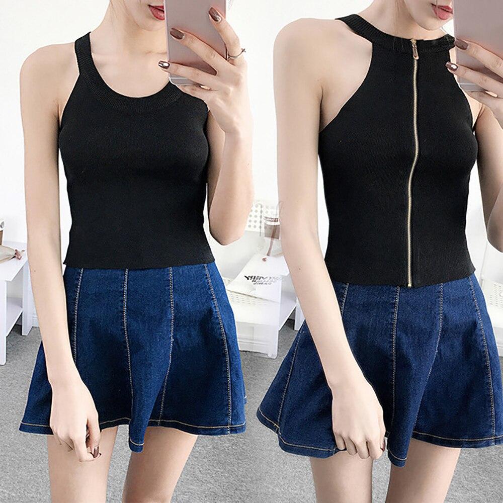 Sexy Club Tank Top Women Knitted Blouses Summer Sleeveless Shirt 2018 zipper Slim Female Top Reversible Vest Ladies Women Shirt
