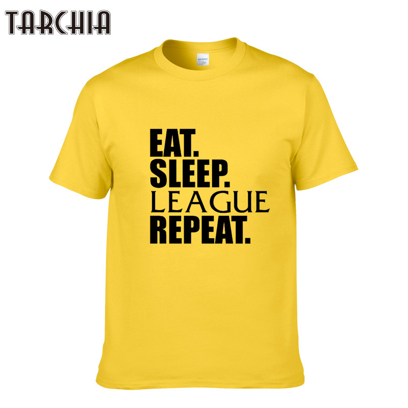 TARCHIA Mens T Shirt EAT SLEEP LEAGUE REPEAT Men T-Shirt Casual Men Streetwear Short Sleeve T Shirts O-Neck Hip-Hop Tops Tees