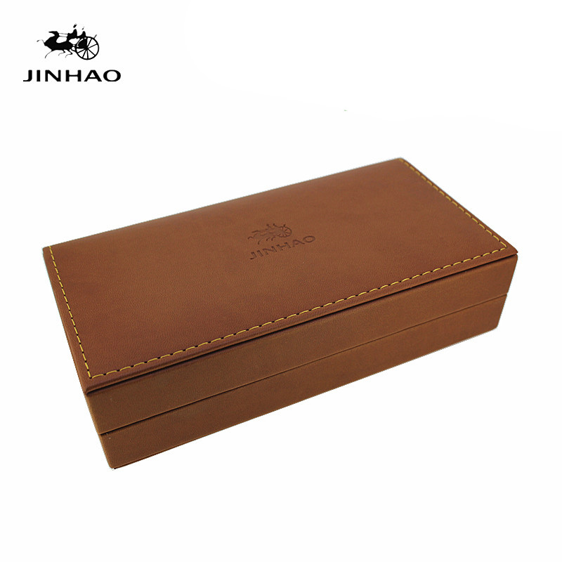 Jinhao Luxury Earthy Yellow Leather and Wooden Pen Box for Fountain Pens No Include The Pen jinhao 599 1 lot 8pcs fountain pens diversity set transparent and unique style