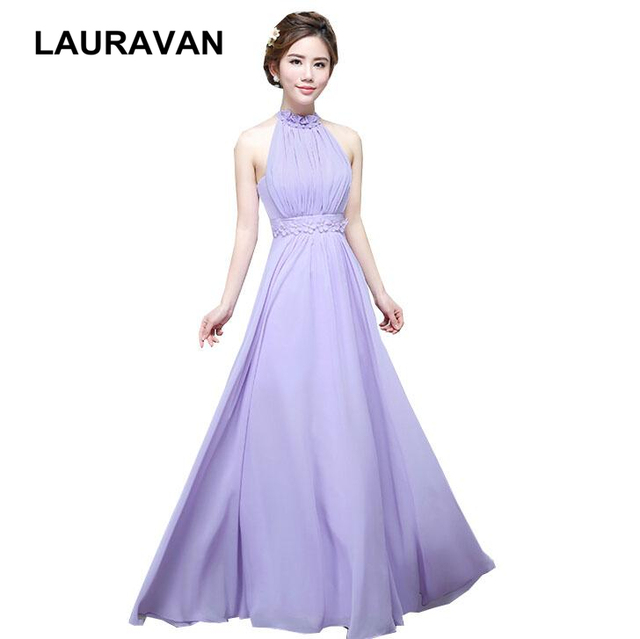13b2250c1fa7 lavender a line floor length chiffon sexy bridesmaid dress fairy women's  halter neck dresses 2018 4 styles gown free shipping
