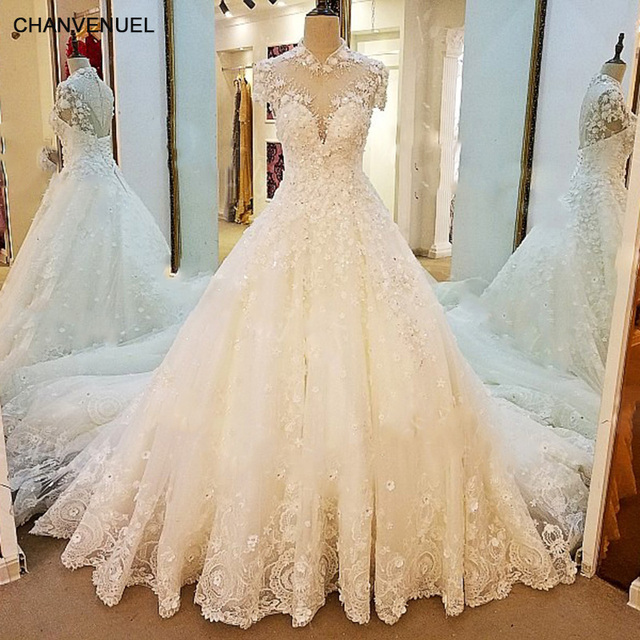 Ls66769 Sparkly Princess Wedding Dress Short Sleeves High Neck Ball Gown Robe De Mariee Lace