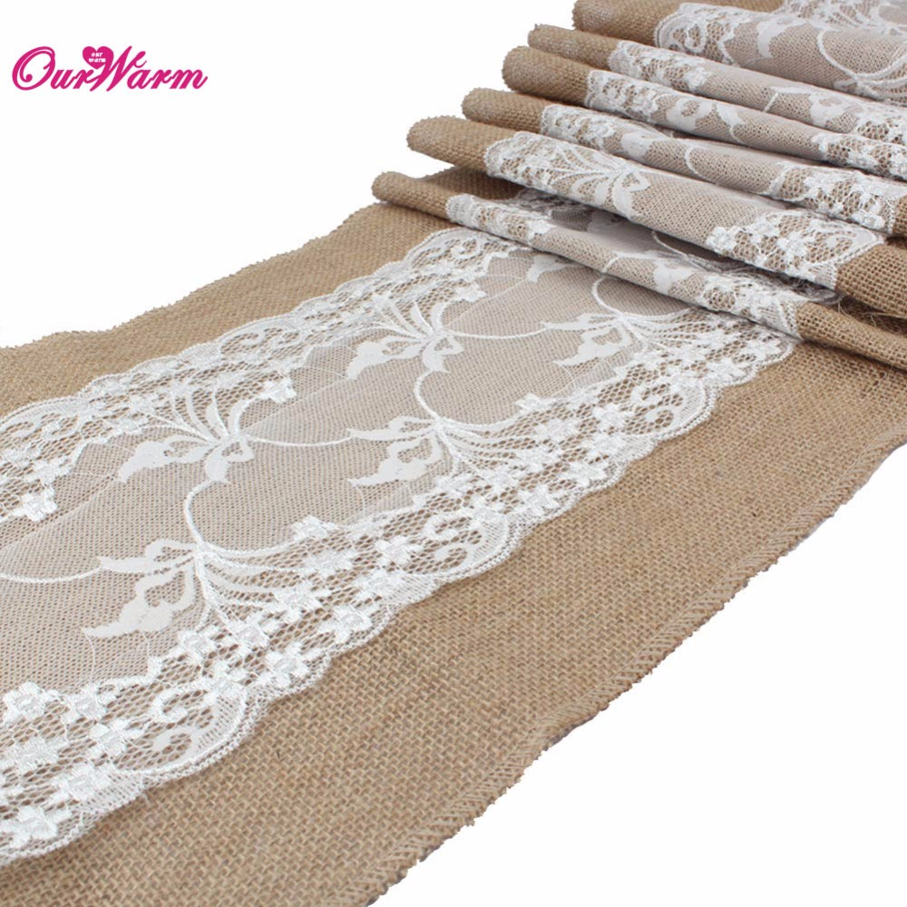 10pcs Natural Burlap Table Runner Hessian Vintage Tablecloth Cover With Jute  Lace Chrysanthemum Pattern For Wedding Party Decor