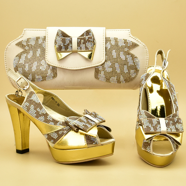 New Gold Color Italian Shoes and Bags To Match Shoes with Bag Set Decorated with Rhinestone Shoes and Bag Set African Sets 2019