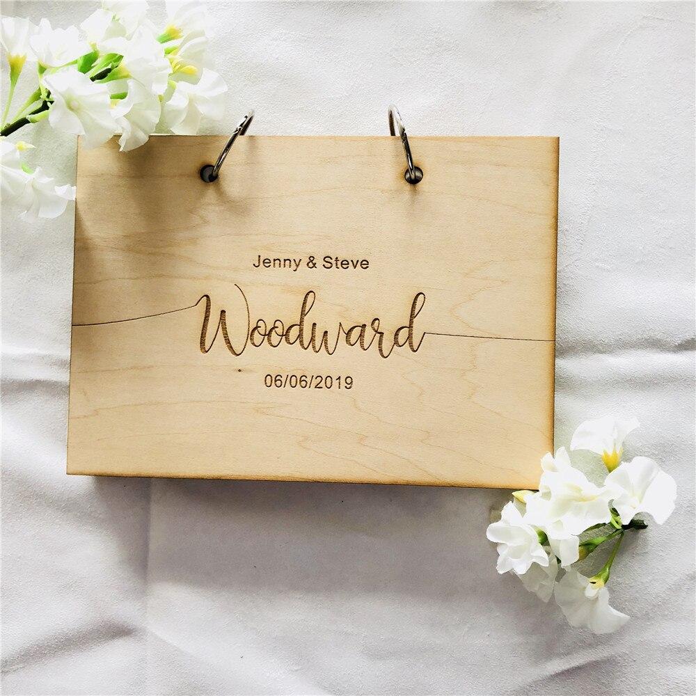 Livro de visitas de madeira do livro de visitas do casamento
