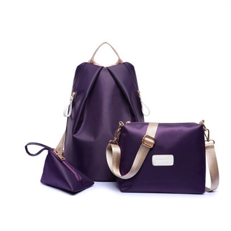 3 Pcs Set Women Nylon Backpacks Female Casual Travel School Bags for Teenagers Girls Shoulder