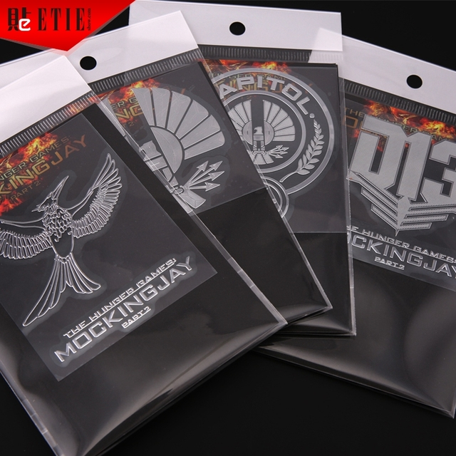 Etie 2018 the hunger games mockingjay vehicle sticker badge logo nickel alloy custom design adhesive emblem