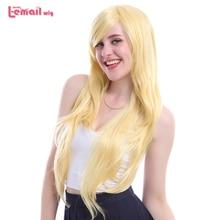 """L דוא""""ל פאה חדש הגעה נשים פאות 6 צבעים 80cm ארוך ישר עמיד בחום סינטטי שיער Perucas פאת קוספליי"""