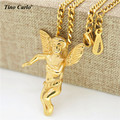 Tino Carlo Super Deals Stainless Steel Micro Baby Angel Cherub Charm Men Necklace Women  Gold Plated Mini Boy Angel Necklace