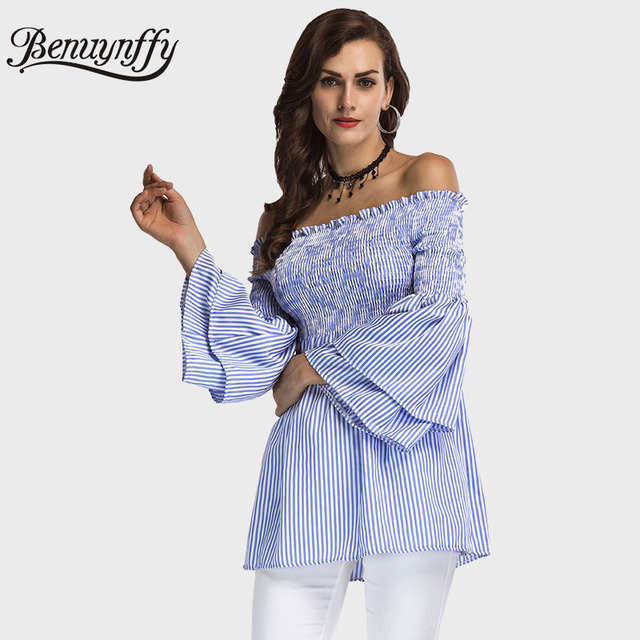 aaed03734a1 Benuynffy Off Shoulder Top Women Blouses Fashion 2018 Autumn New Ladies  Casual Blue Striped Flare Long Sleeve Blouse X633