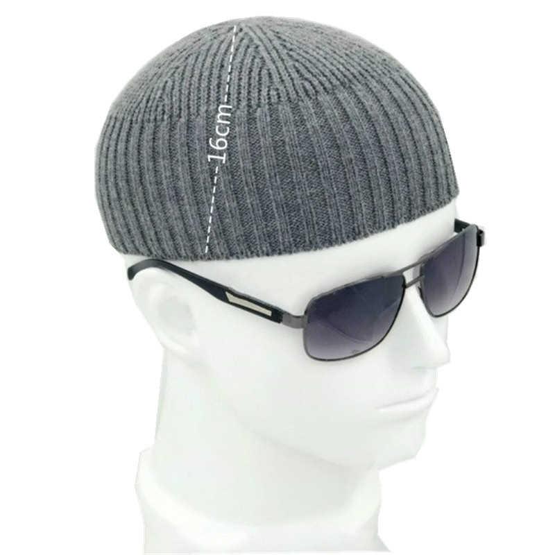 ผู้ชายถักหมวกขนสัตว์ Blend Beanie Skullcap หมวก Brimless Hip Hop หมวกหมวก Black Navy สีเทาแฟชั่น Retro Vintage ใหม่ 904-897