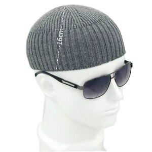 Image 4 - Men Knitted Hat Wool Blend Beanie Skullcap Cap Brimless Hip Hop Hats Casual Black Navy Grey Retro Vintage Fashion New 904 897