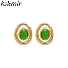 Fashionable retro oval earrings opal 2018 try fashionable new Womens statement jewelry ear clip Earrings jewe
